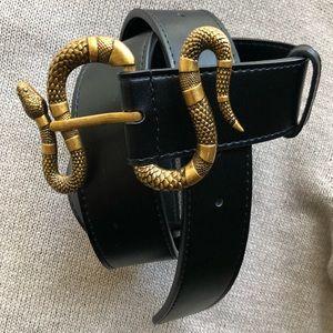 New Gucci Kingsnake Gold Buckle Belt